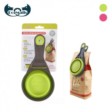 collapsible measuring cups, dog food measuring scoop, collapsible dog food scoop, travel dog bowl collapsible, wholesale collapsible dog bowls, pet food scoop and clip