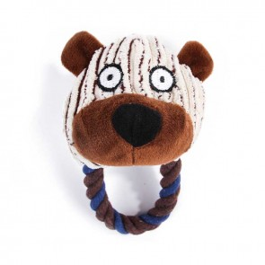Bear Squeaky Plush Dog Toy With Knot Rope Loop