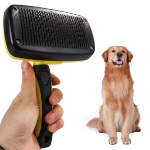 self cleaning dog brush, self cleaning slicker brush, dog grooming supplies wholesale